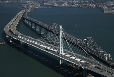 The new eastern span of the  Bay Bridge shortly before it opened in September 2013.