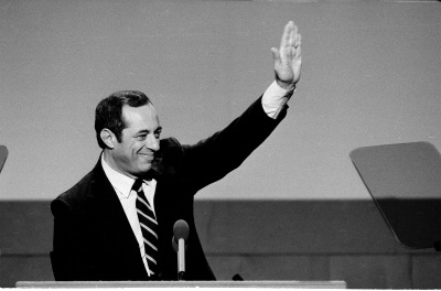 New York Gov. Mario Cuomo gestures while delivering the keynote address to the Democratic National Convention Monday, July 22, 1984, in San Francisco's Moscon Center.