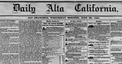 Front page of San Francisco's Daily Alta California, June 20, 1855.