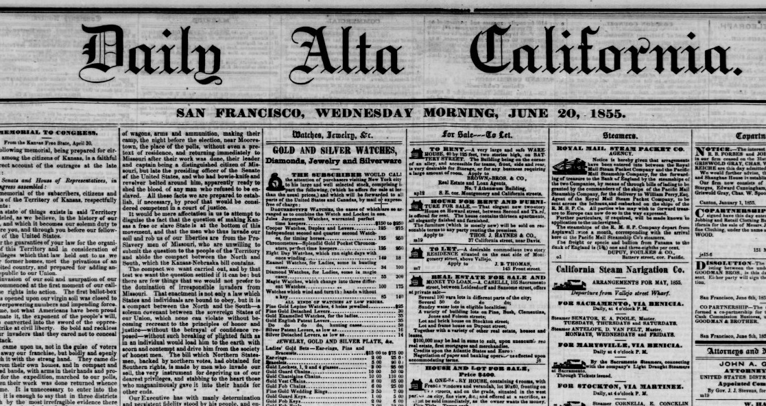 Front page of San Francisco's Daily Alta California, June 20, 1855.  California Digital Newspaper Collection