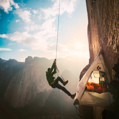 Climber Tommy Caldwell leaves his bivouac on the wall of El Capitan to resume his ascent of the Dawn Wall earlier this week.