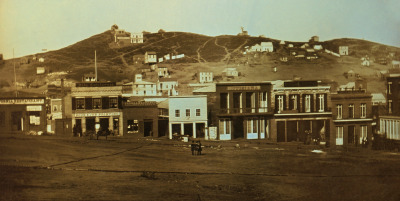 San Francisco's Portsmouth Square, also known as the Plaza, as seen in 1851. The view is to the west, toward what was later dubbed Nob Hill. The image, a daguerrotype, was credited to a dentist named S.C. McIntyre. (Image via Wikimedia Commons and Library of Congress)