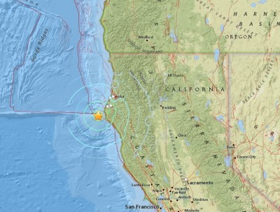 Epicenter of Wednesday's 5.7-magnitude earthquake ,just off the Humboldt County coast.