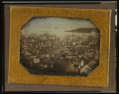 This daguerreotype  shows San Francisco's  main anchorage in 1851. Yerba Buena Island is at the right. (Library of Congress)