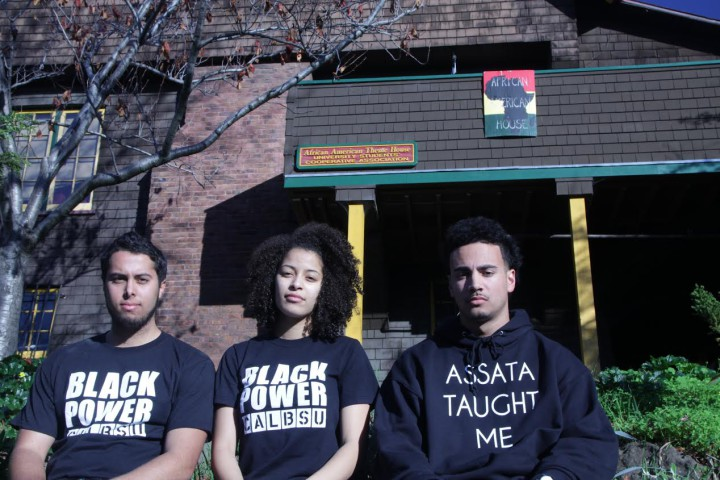 Spencer Pritchard, Gabrielle Shuman and Blake Simons stand in front of the Afro House, an African-American-themed residence owned and operated by the Berkeley Student Cooperative, which is a nonprofit student-run cooperative housing organization. Most of its members attend UC Berkeley.
