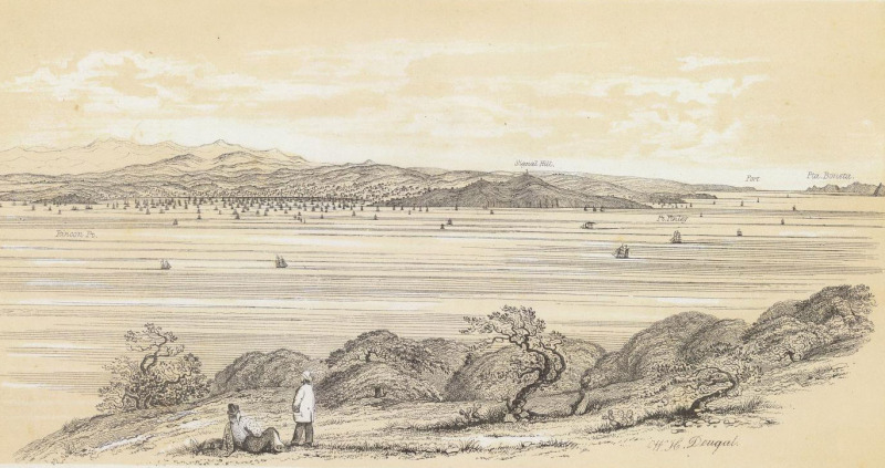 A view of San Francisco from Yerba Buena Island. (W.H. Dougal/David Rumsey Historical Map Collection)