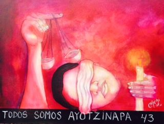Ricardo Cartagena's painting depicts Julio Cesar Lopez Patolzin, one of 43 missing Mexican students.