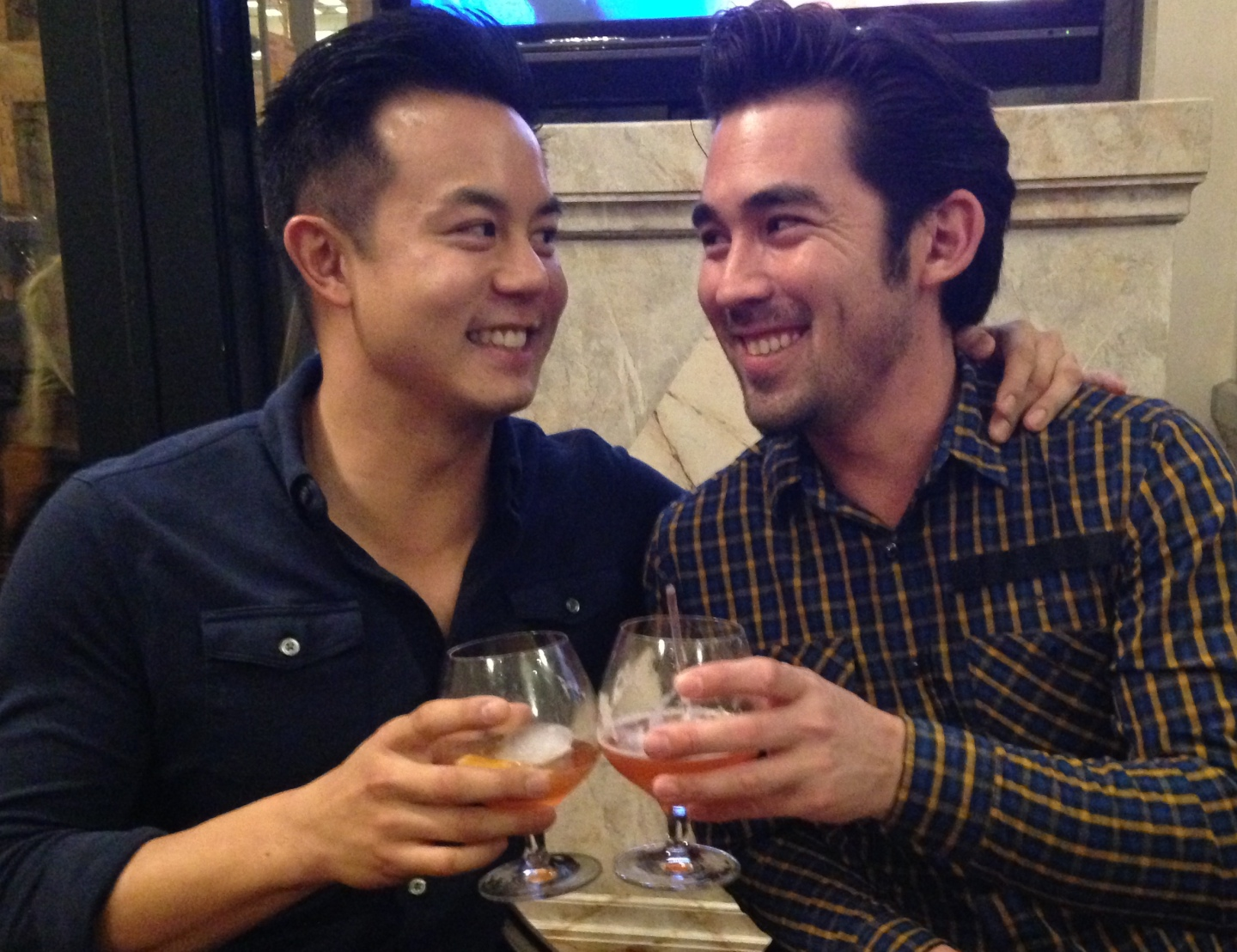 The upside of a good working relationship? You also have a great wingman, says Mike Prestano, right, of Jon Chintanaroad, left. (April Dembosky/KQED)