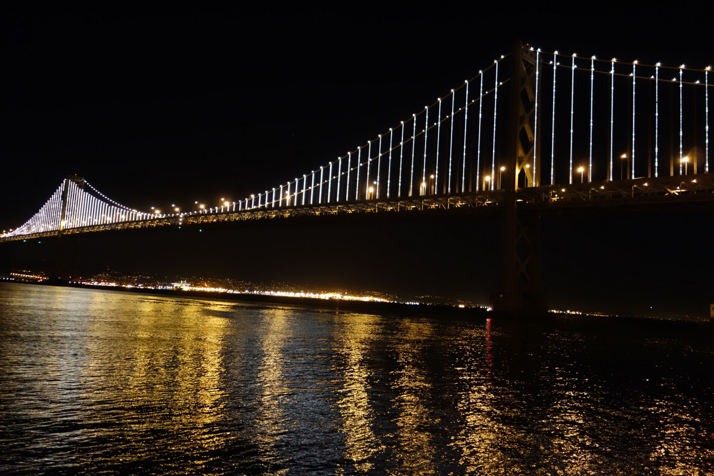 """""""I believe my work will allow people to see this iconic piece of infrastructure in a new way,"""" artist Leo Villareal  told Bay Area Bites. (Steve Rhodes/Flickr)"""