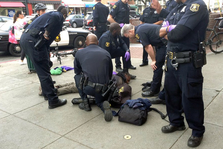 Many officers responded to detain a man in downtown Berkeley on Wednesday.