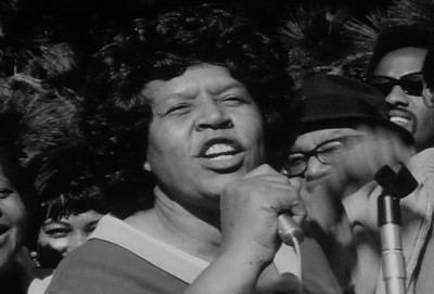 Eloise Westbrook (1915-2011) speaking at a protest in support of a student strike at San Francisco State on Dec. 4, 1968.