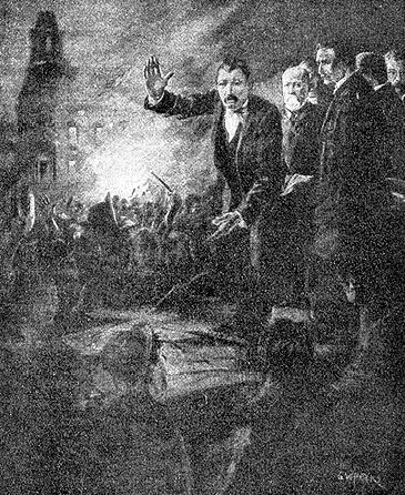 Denis Kearney addresses crowd on Nob Hill, October 1877.