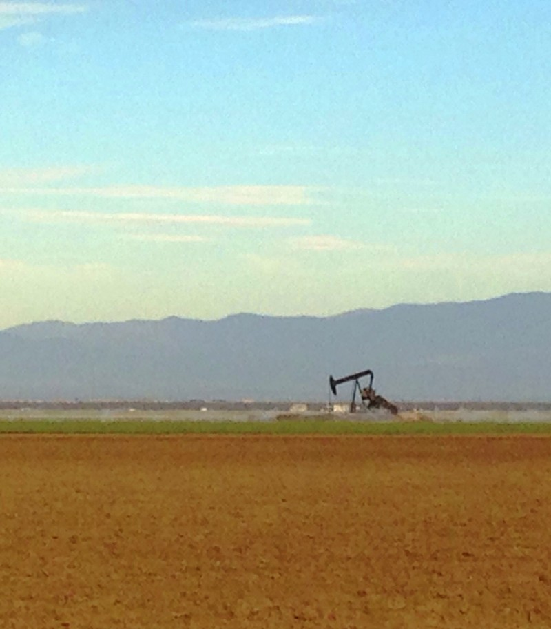 A lone oil pumpjack plies the earth in Kern County near Bakersfield.