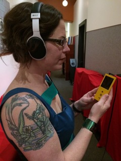Leila Easa checks out a PonoPlayer at a listening party at the AudioVision SF store in San Francisco.