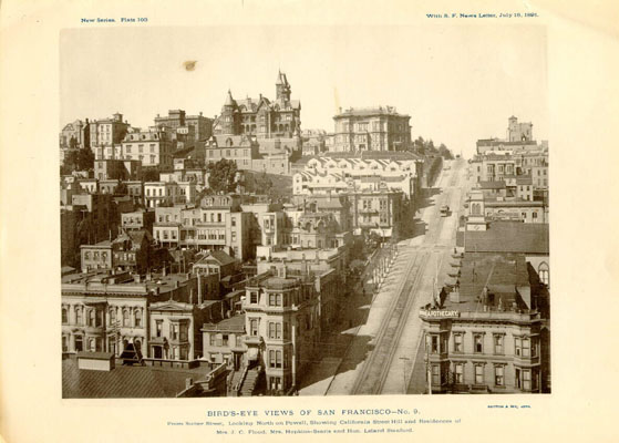 An 1891 view of Nob Hill, looking north up Powell Street. To the left (west) of Powell at the top of the hill are the mansions of Leland Stanford, Mark Hopkins and James C. Flood.