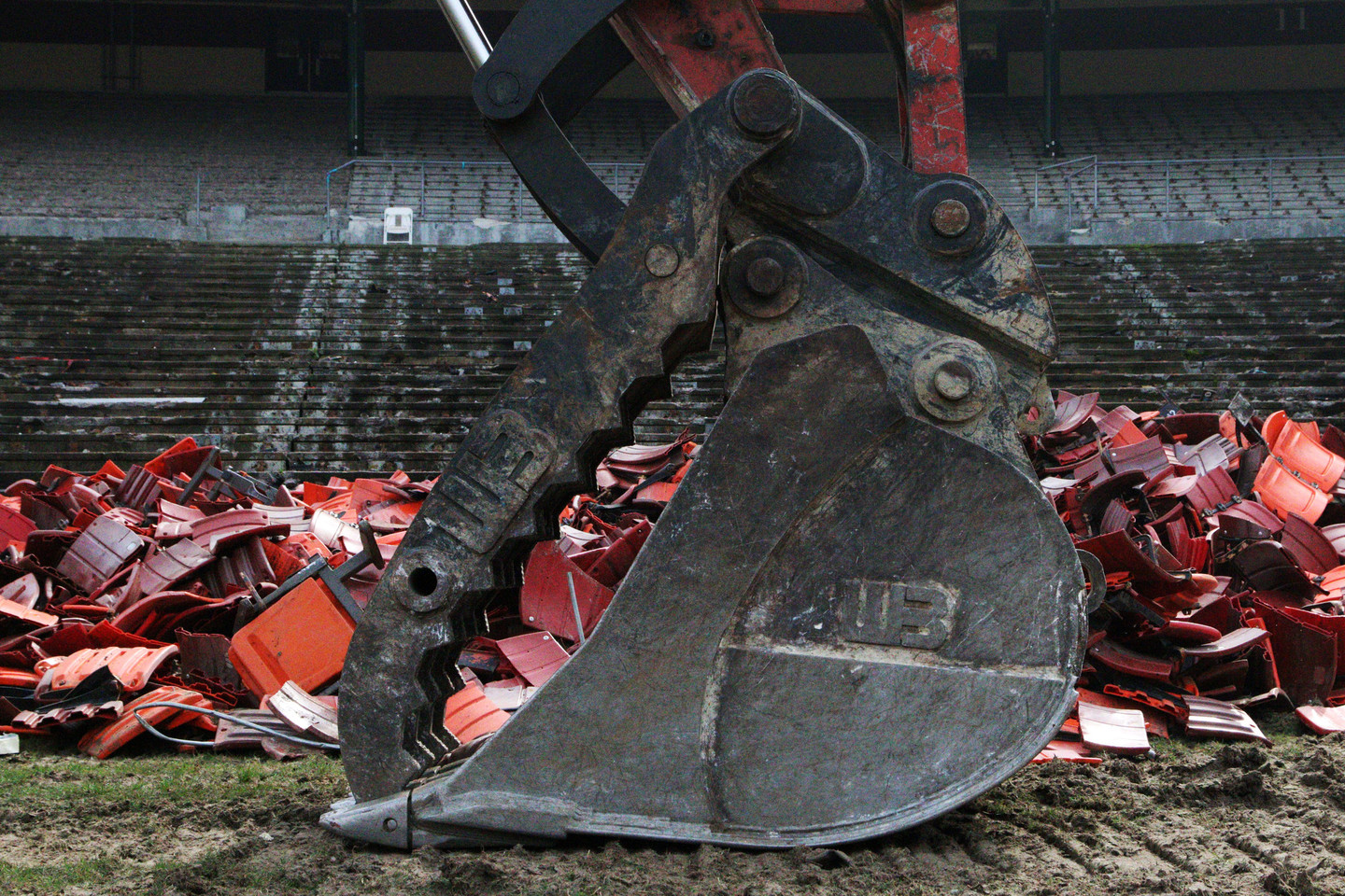 Candlestick Park is in the process of being demolished. (Anya Schultz/KQED)