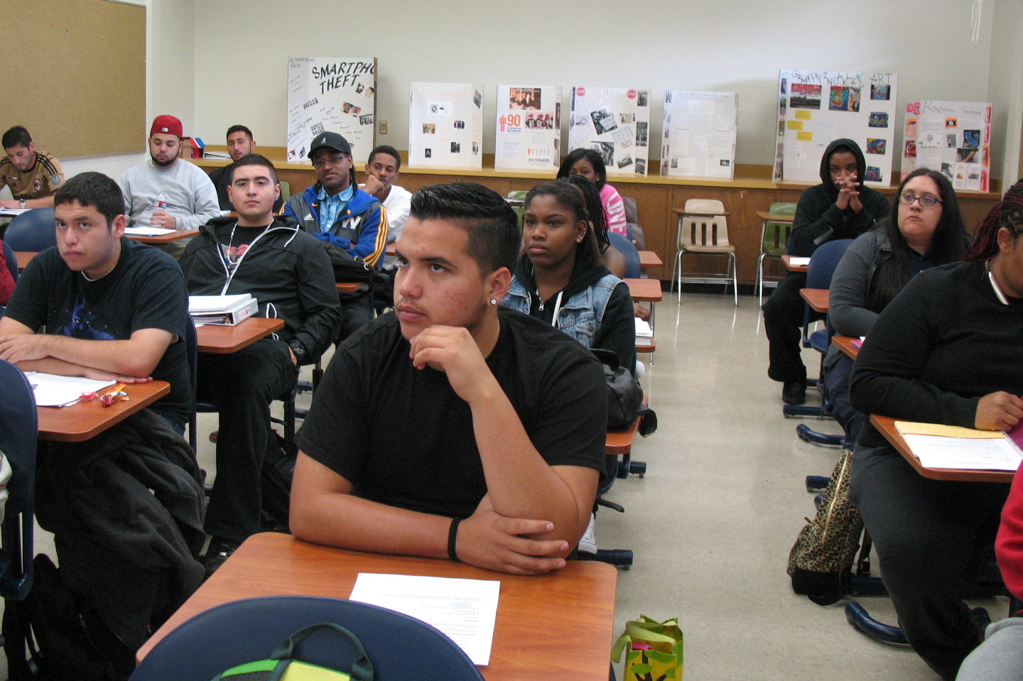 Manuel Rodriguez listens during a class in policing and community relations at Merritt College on Jan. 28, 2015.
