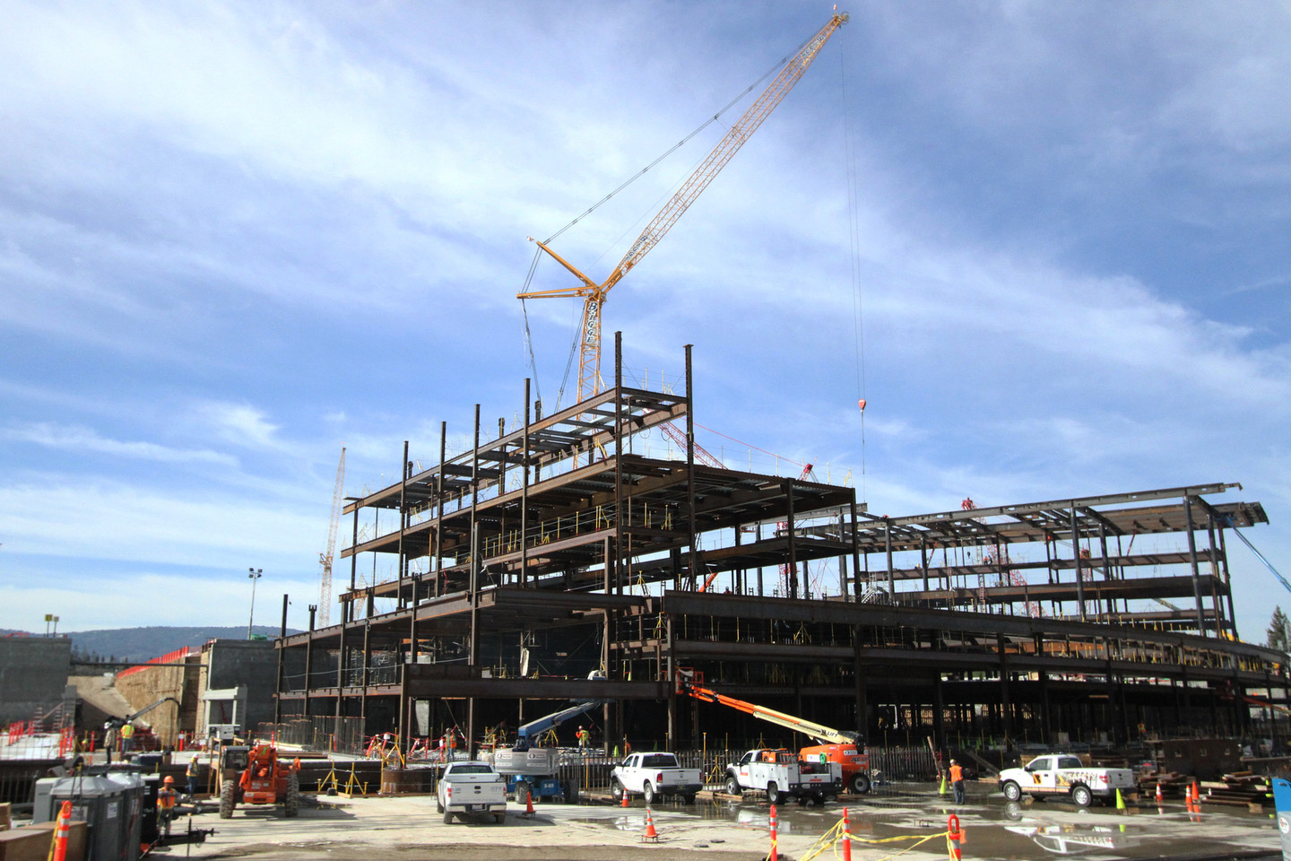 The main office will be a large circular building and is being constructed with concrete pieces. (Anya Schultz/KQED)