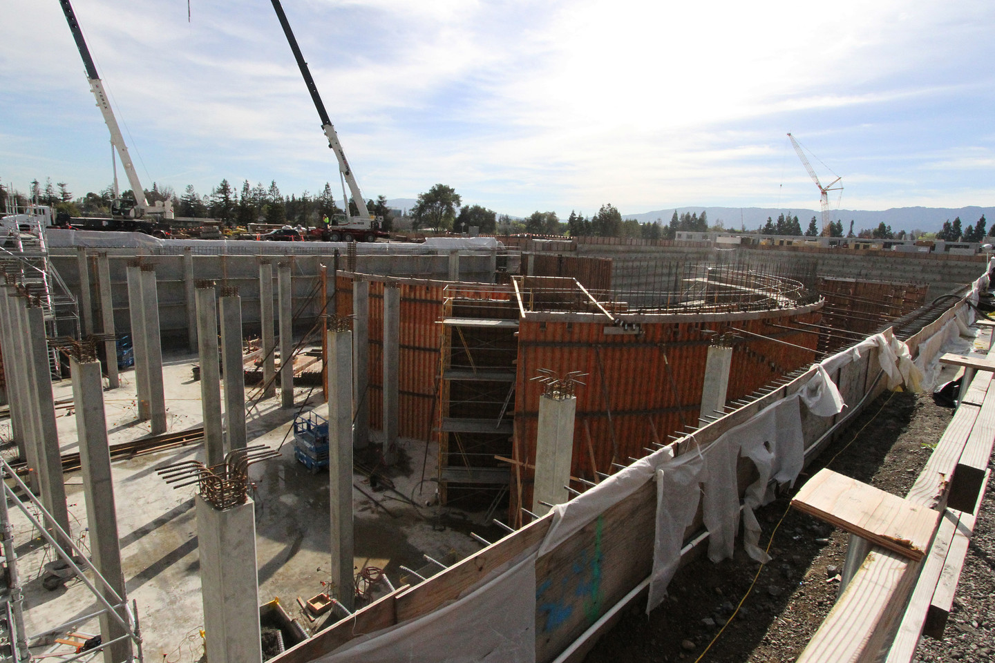 Adjacent to the circular office space, Apple is constructing an amphitheater. (Anya Schultz/KQED)