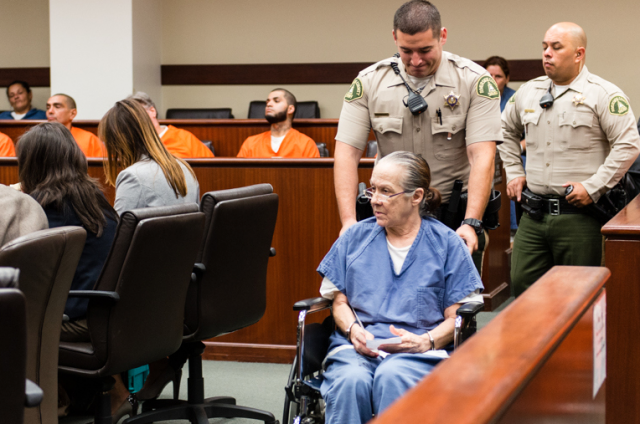 Linda Maureen Raye at her sentencing at the Riverside County Hall of Justice. Raye pleaded guilty to elder abuse that led to the death of her mother.