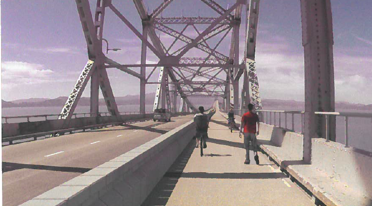 A rendering of the proposed biking and walking path on the Richmond-San Rafael Bridge.