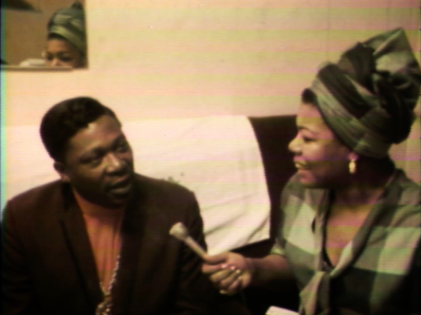 "Maya Angelou interviewing B.B. King in an episode about music from ""Blacks, Blues, Black!"""