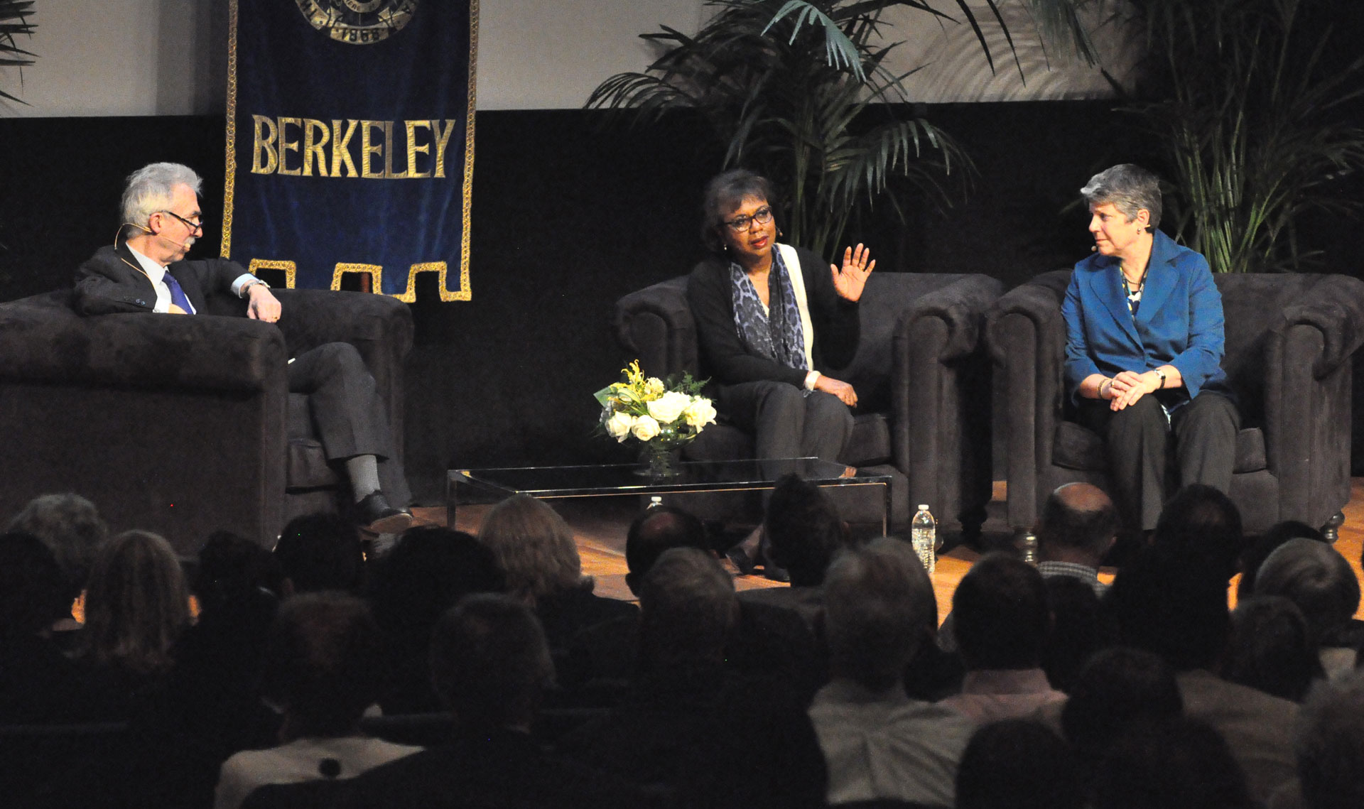 Anita Hill (center) spoke with UC President Janet Napolitano (right) at the conference.