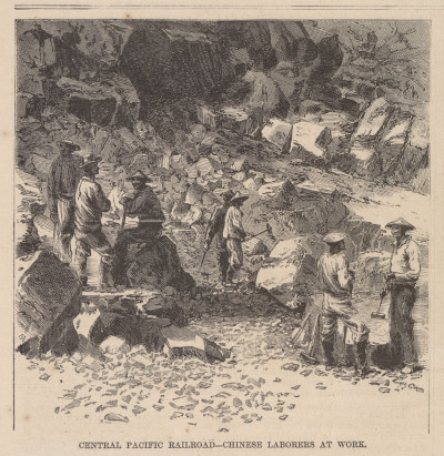 Chinese workers on the Central Pacific Railroad's route through the Sierra Nevada.
