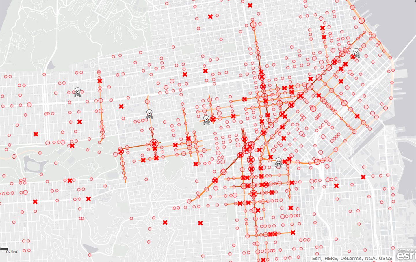 Map of cycling injuries and deaths in San Francisco from 2007-11. Click on map for interactive version.