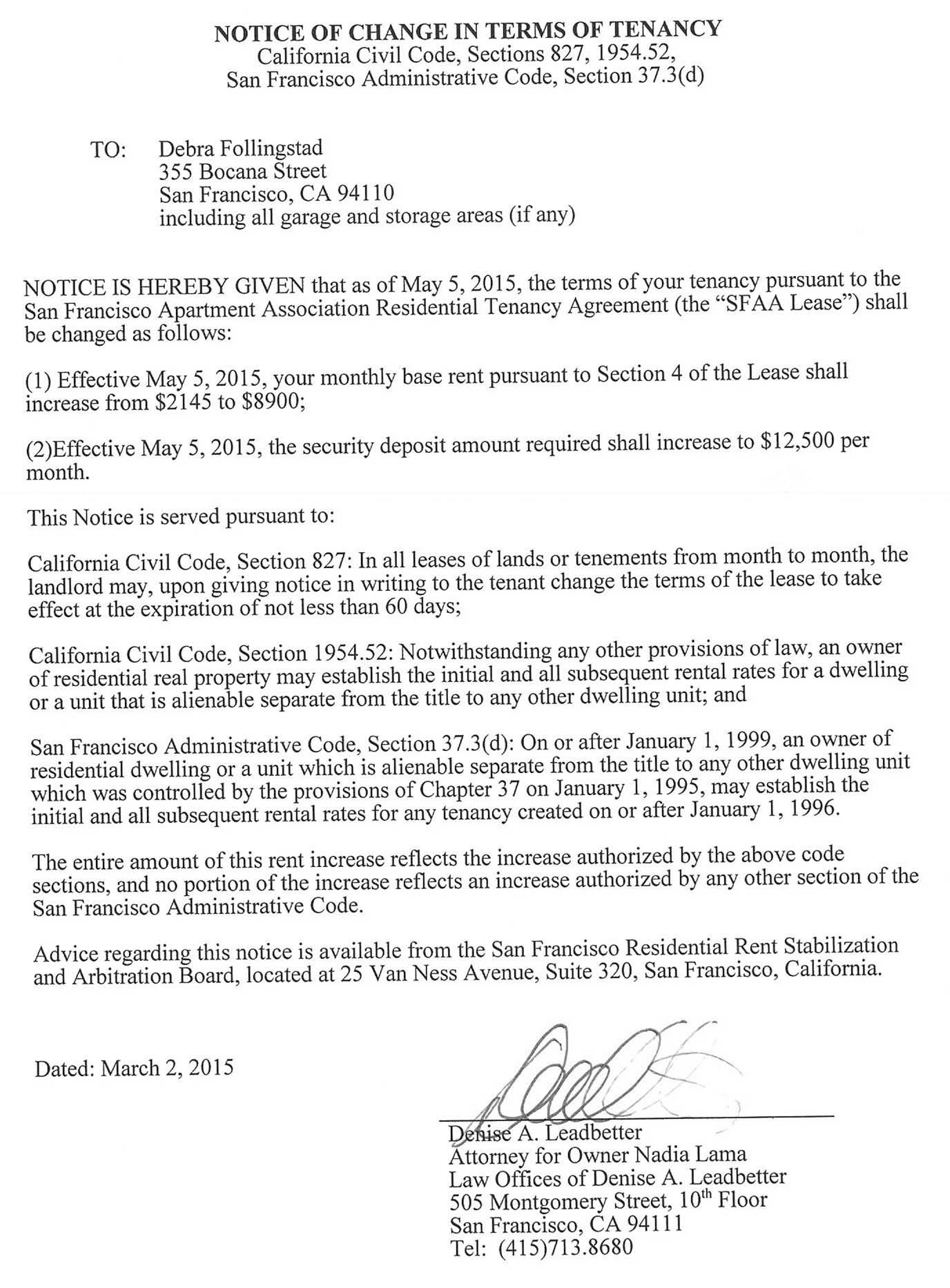 a page from the landlords letter informing bernal heights tenant deb follingstad her rent was rising
