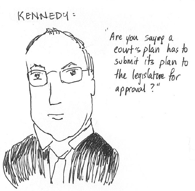 A drawing made on Monday during oral arguments by Kathay Feng, one of the architects of California's redistricting commission.