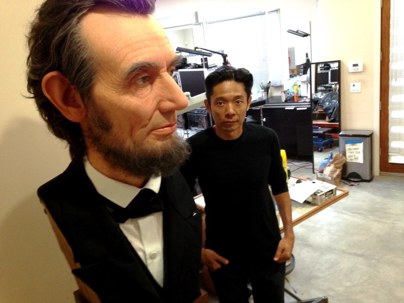 Sculpture and Oscar-nominated makeup artist Kozuhiro Tsuji in his Burbank studio with his silicone-based bust of Abe Lincoln.