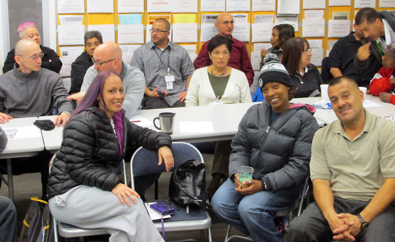 Participants in a mentoring program where former lifers help each other adjust to life after decades in prison.