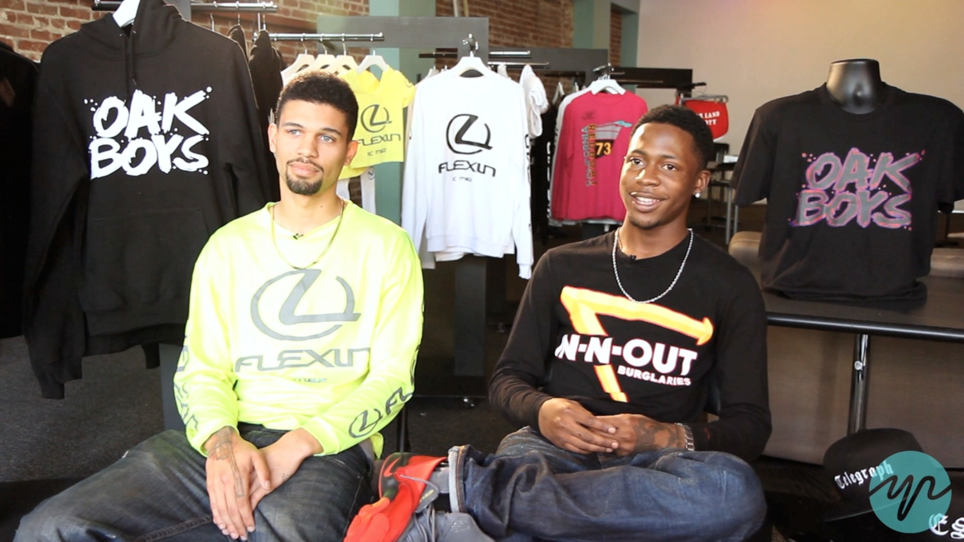 Torron Thompson (left) and Khalil Whitaker (right) design t-shirts, sweats and shorts with funny logos under the brand Oak Boys.