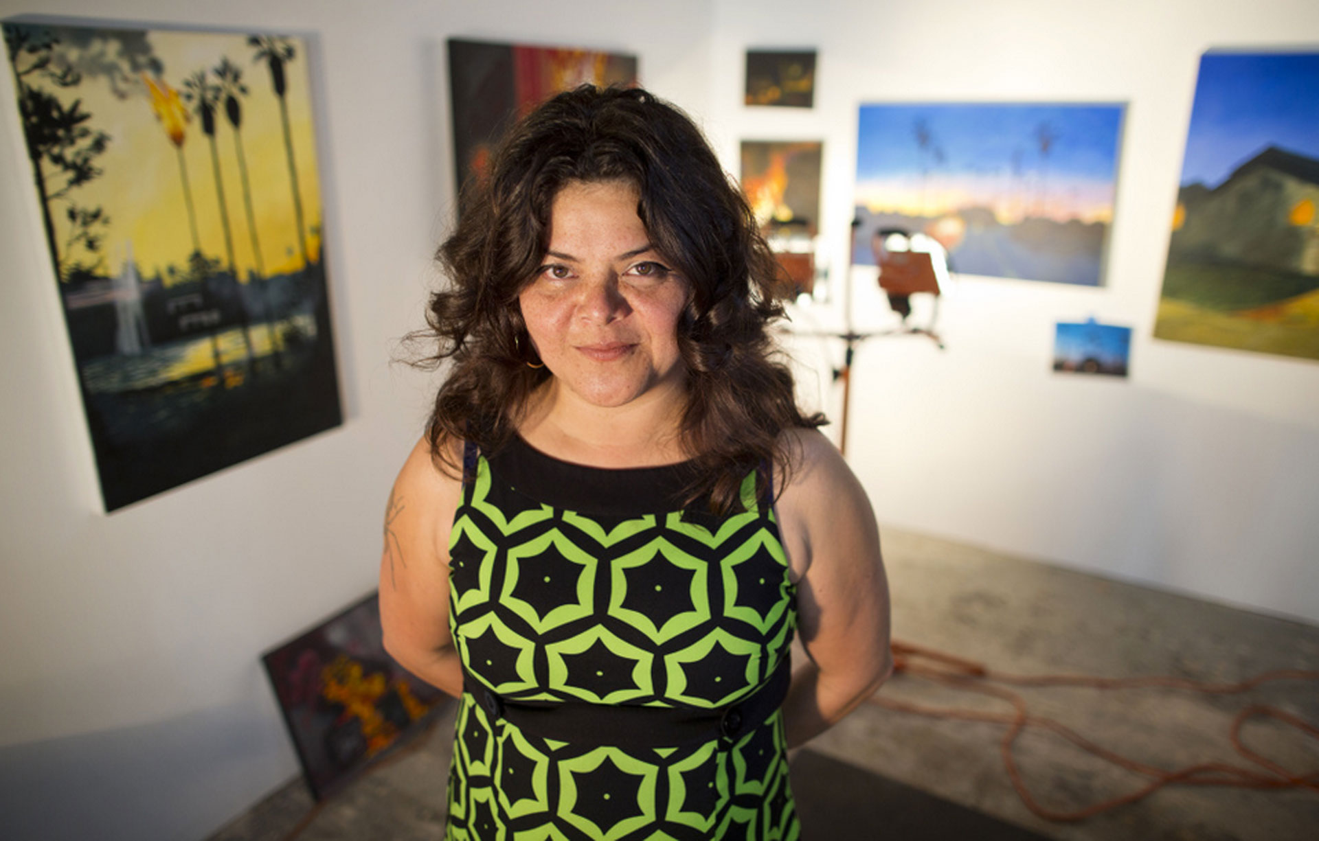 Sandy Rodriguez is an artist in residence at Art + Practice in Leimert Park. Rodriguez is currently working on paintings inspired by social unrest in Ferguson, Mo., Mexico City, and Los Angeles.