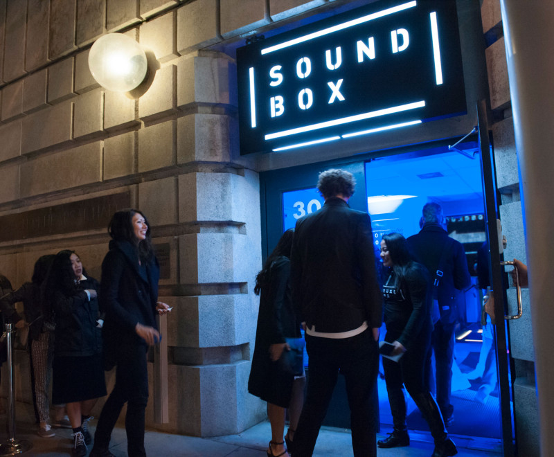 The entrance to SoundBox .