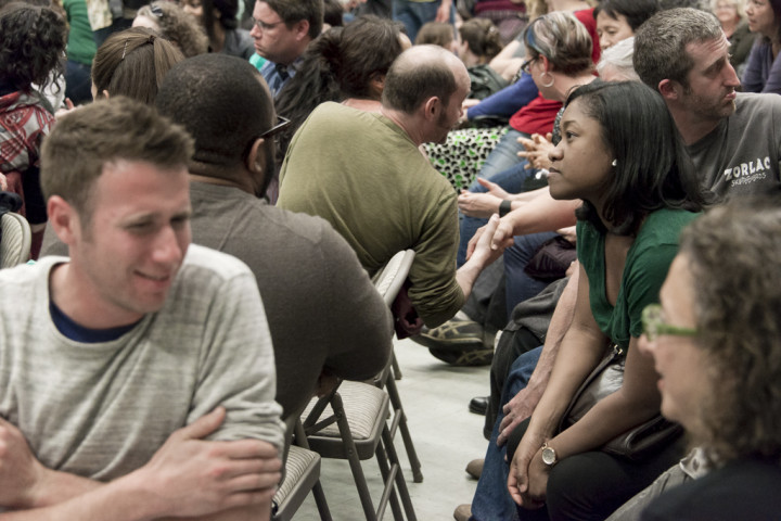 Members of the 300-strong audience were asked to talk to each other and consider some the issues under consideration
