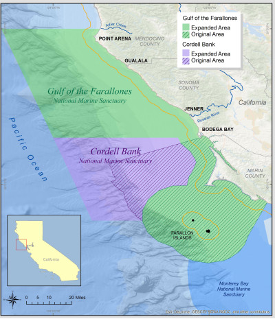 Cordell Bank National Marine Sanctuary, located 42 miles north of San Francisco, will expand from 529 square miles to 1,286 square miles. Gulf of the Farallones National Marine Sanctuary will expand from 1,282 square miles to 3,295 square miles of ocean and coastal waters. (NOAA)