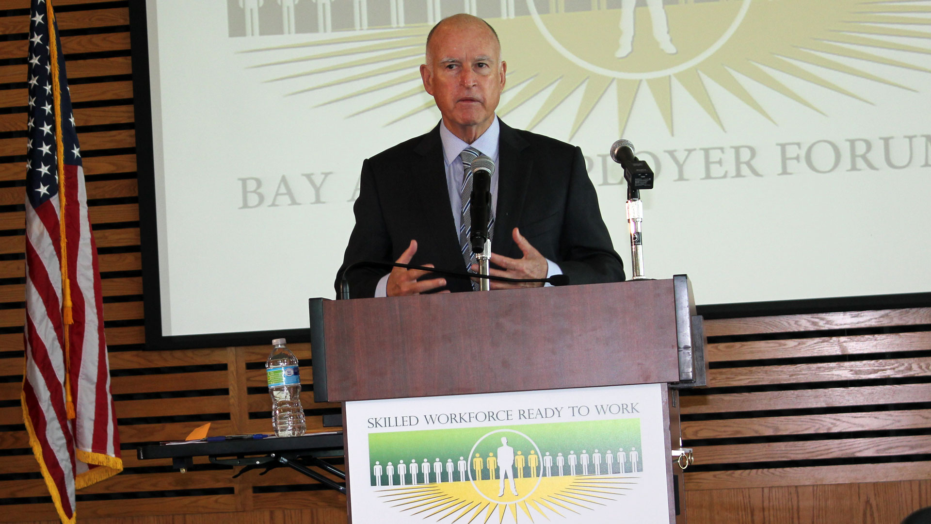Gov. Jerry Brown spoke at a politician-studded Friday forum for employers at Oakland's Merritt College.