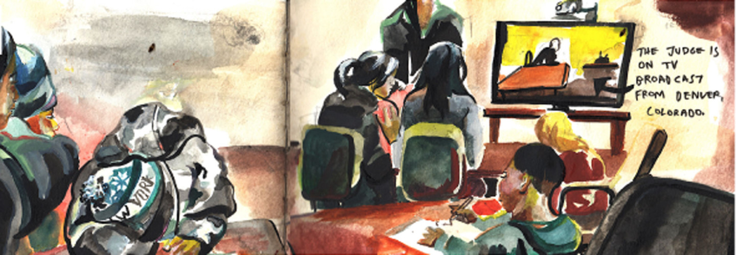 """Hearings were conducted by phone in the detention center in Artesia, New Mexico. The judge appeared by teleconference.  (Dibujo de Clio Reese/<a href=""""https://insidewitness.files.wordpress.com/2015/02/fbbw_english.pdf"""">Families Behind Barbed Wire</a>"""