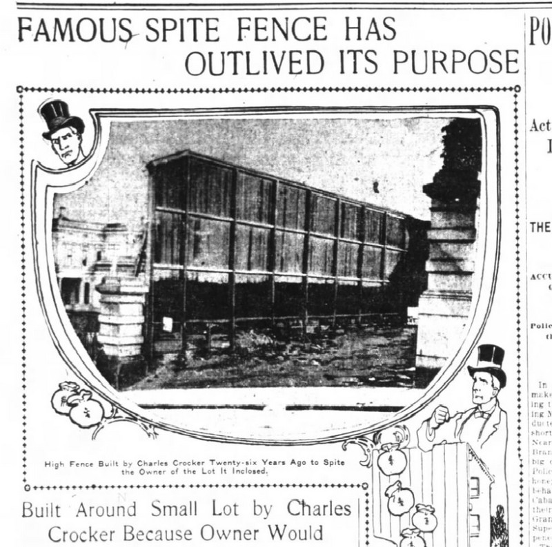 A November 1902 article in the San Francisco Chronicle calling on the heirs of Charles Crocker to tear down the fence that spite built.