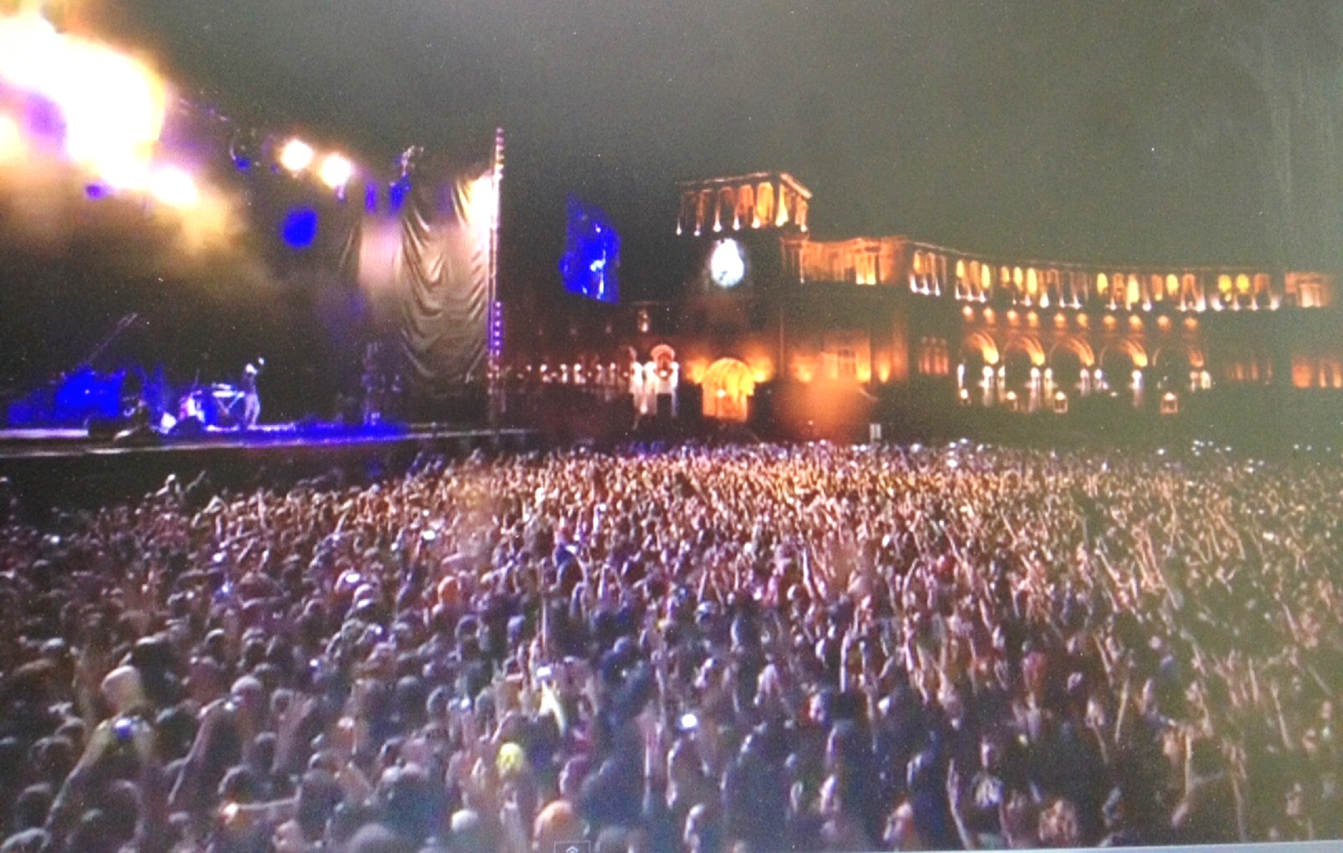 Screen shot from the web simulcast of System of a Down's April 23 outdoor performance in Yerevan, Armenia's capital. It was the band's first ever performance in Armenia.
