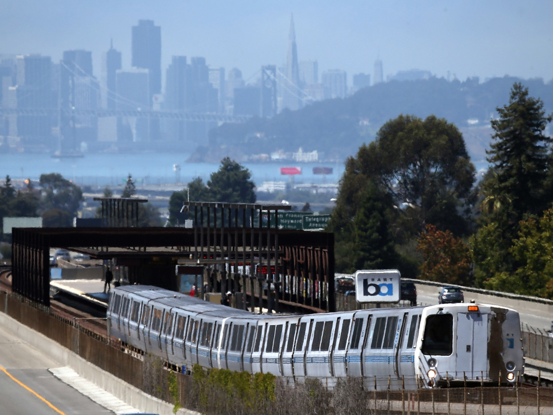 A BART train near the system's Rockridge station in Oakland.