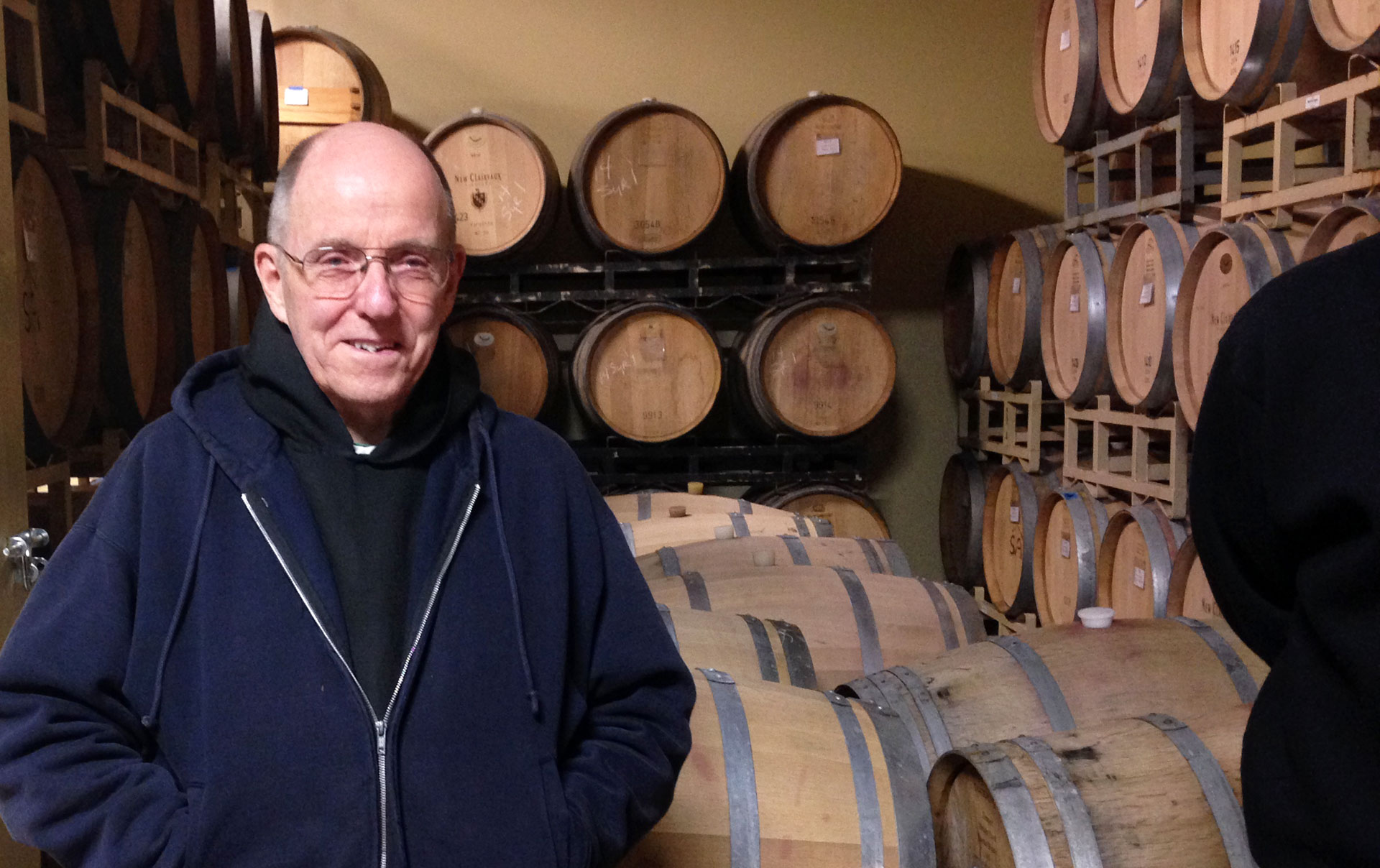 Brother Thomas in the New Clairvaux cellar.