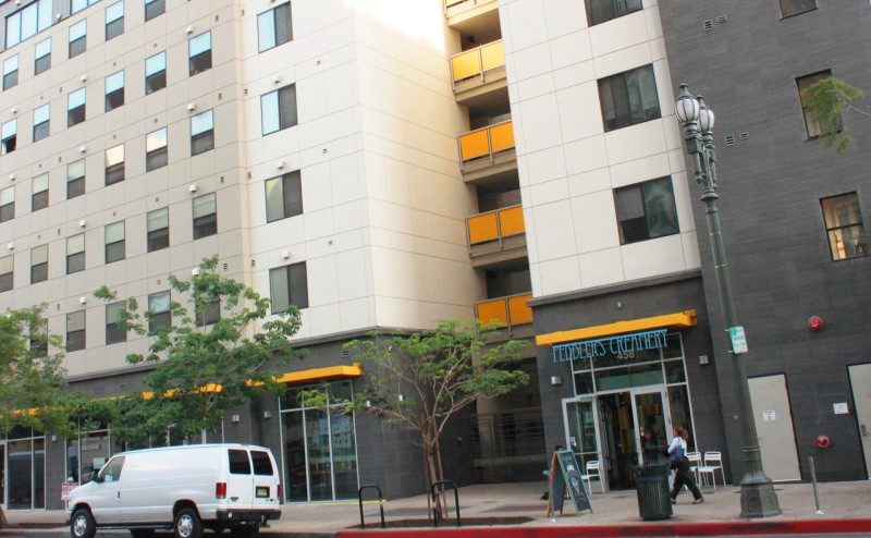 Exterior of the New Genesis apartments on the border of Skid Row and L.A.'s rapidly changing Historic Core.