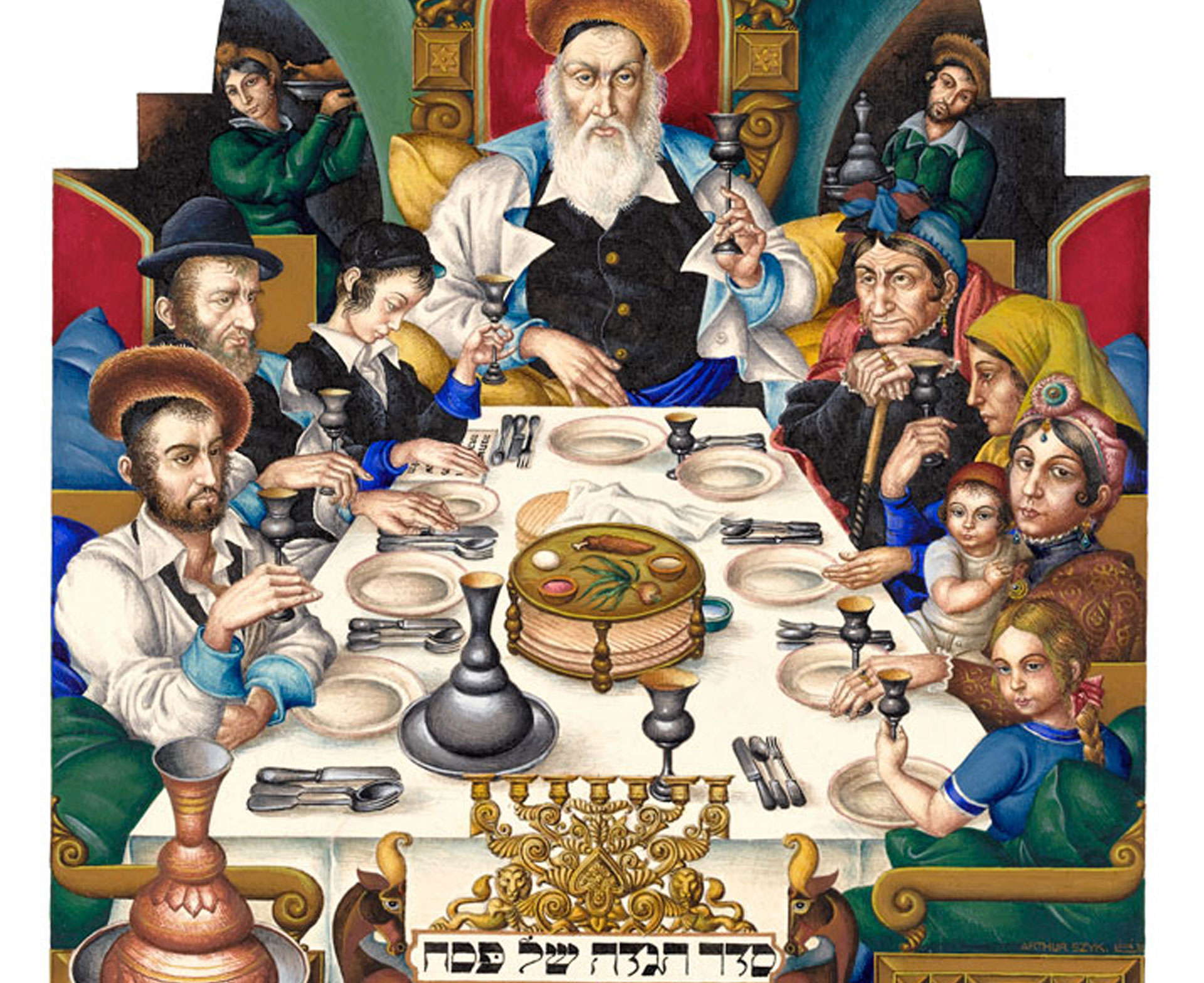 A page from the classic 1940 Haggadah made by Polish artist Arthur Szyk.