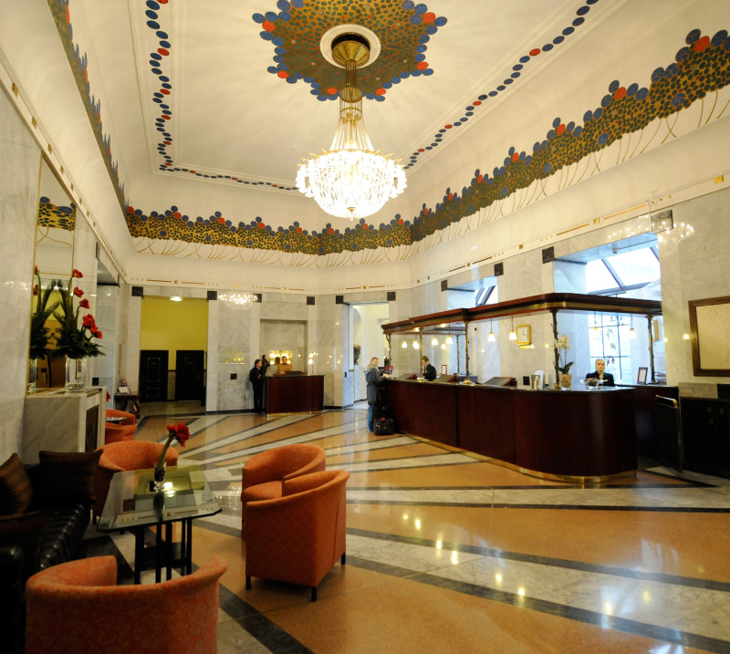 The lobby of the opulent Hotel Bristol in Warsaw, Poland, where former PUC president Michael Peevey met with Southern California Edison executive Stephen Pickett in 2013.