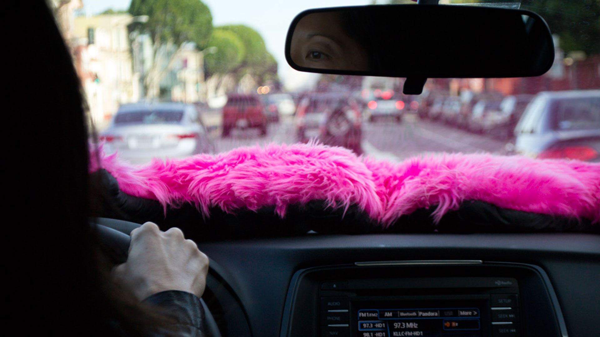 A Lyft driver navigates through Potrero Hill in San Francisco.