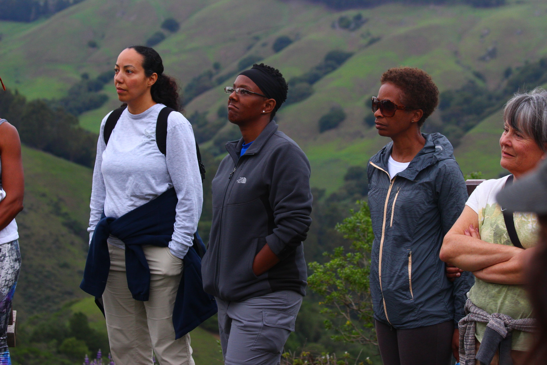 Hikers reflecting on Harriet Tubman's connection to nature.
