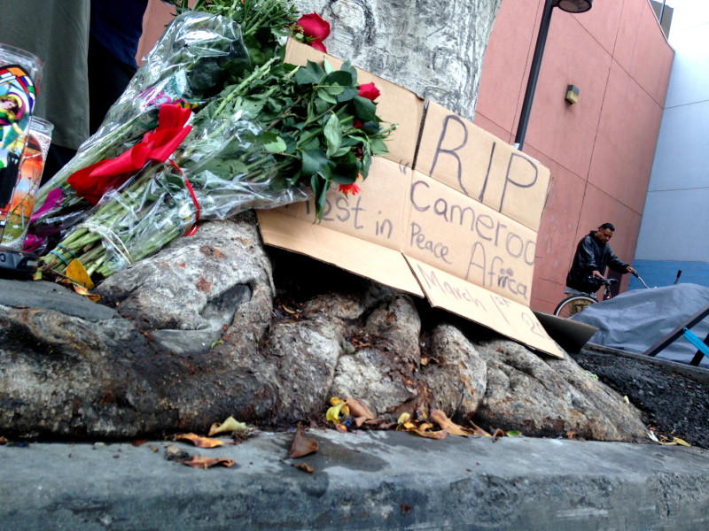 A street memorial still stands outside the Union Rescue for the 43-year-old homeless Cameroonian immigrant shot and killed by LAPD officers during a scuffle on March 1, 2015.